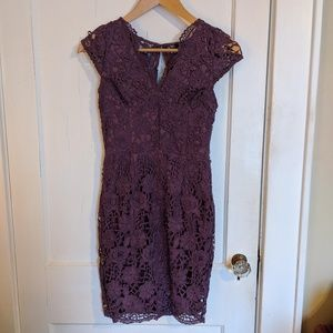 Purple Lacy Fitted Dress